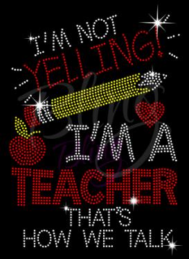 Teacher Rhinestone Transfer Bling Hot Fix Iron On