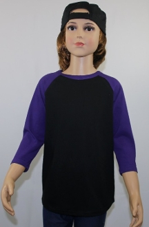 Youth Raglan Black Body Purple Sleeves