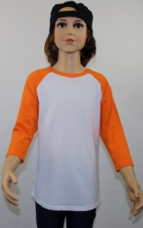 Youth Raglan White Body Orange Sleeves