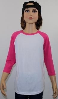 Youth Raglan White Body Pink Sleeves